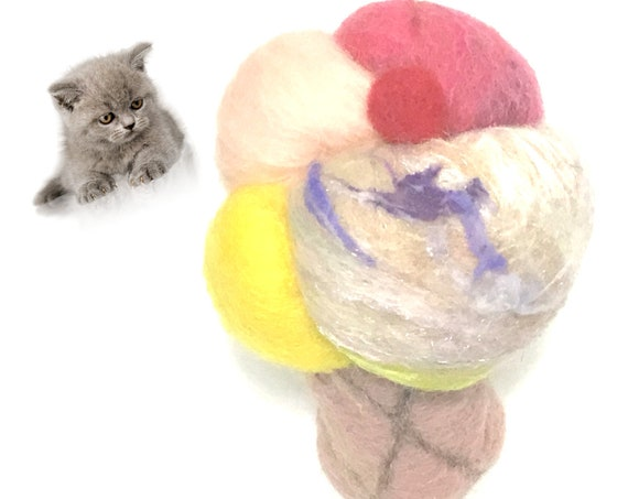 Soft Serve Felt Cat Toy - Ice Cream Cat Toy - Needle Felted Cat Toy - Cat Throw Toy - Play Toy - Felted Toy - Wool Cat Toy - Cat Lovers Gift
