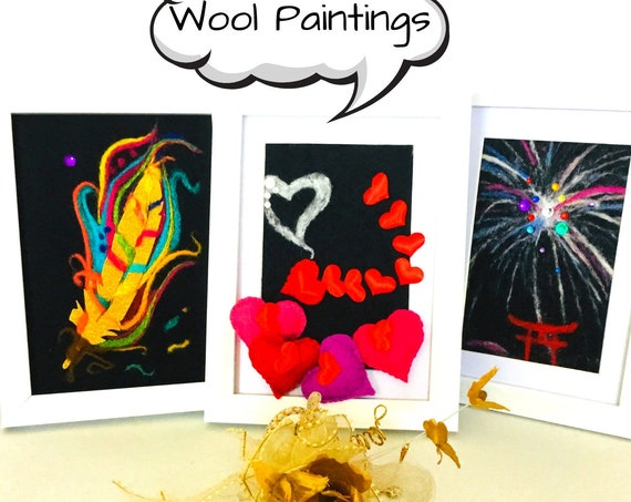Black 3D Wool Pictures - Unique Felted Wool Art - 3D Sparkling Wool Paintings - Framed Wool Paintings - Felted Room Decor - Art Lovers Gift