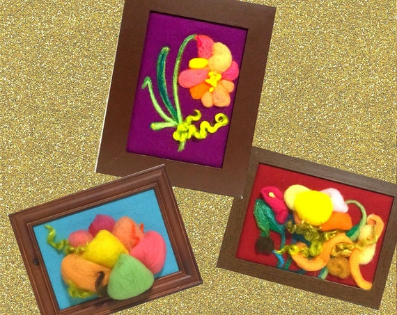 Framed 3D Wool Pictures - Gold Needle Felted Art - Original Felted Fibre Art - Xmas Bargain - Free local Shipping - Art Lovers Gift
