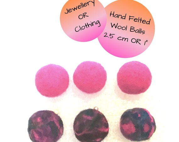 Hand Felted Wool Ball Set - Pink Felt Balls for Craft Designs - Unique Felt Balls for Craft Supplies - Bespoke Gifts for Craft Work