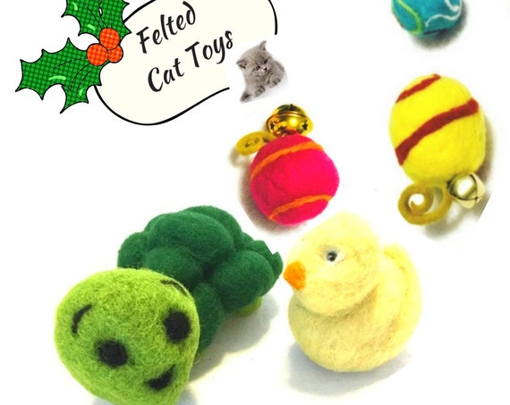 Xmas Bargain Felted Cat Toys - Green Snail Cat Toy - Yellow Duck Cat Toy - Felted Cat Toys - Catnip and Rattle Duck - Catnip Free Turtle