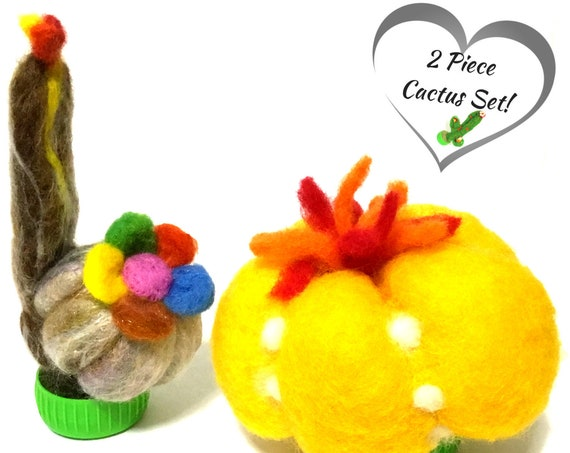 Cactus - 2 Cactus Plants - Felted Plants - Needle Felted Cacti - Wool Sculptures - Handmade Plants - Plant Lover Gift - Australian Wanderrah