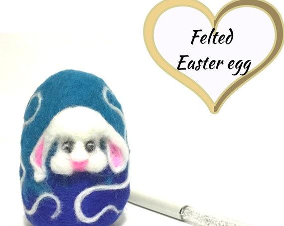 Felt Easter Egg - White Bunny Easter Egg - Unique Table Decor - Cherished Gift - Collectors Item - Unique Easter Gift - Australian Wandarrah