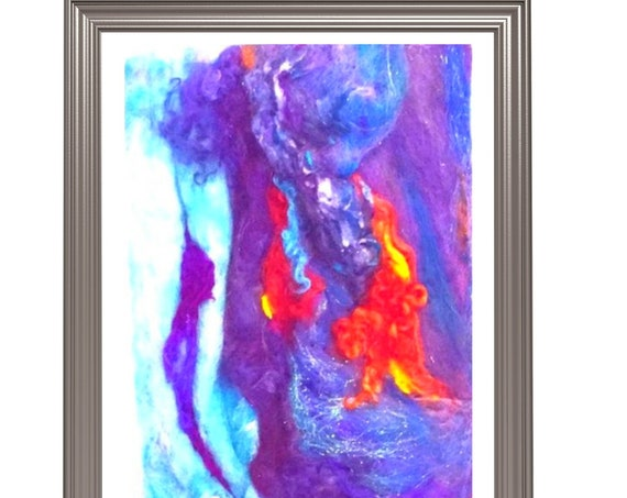 Abstract 3D Wool Painting - Blue Needle Felted Art - Handmade Picture - Felted Wall Art - Blue Storm Painting - Art Lover Gift - Any Way Art