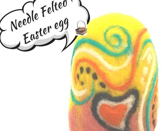 Felted Wool Easter Egg - Yellow Decorated Egg - Needle Felted Wool Sculpture - Handmade Easter Egg - Easter Ornament - Easter Egg Gift