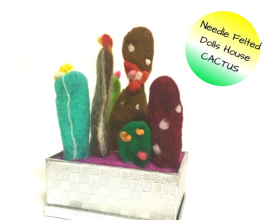 Hand Felted Cactus Forest - Silver Boxed Indoor Plants - Friendship Gift - Hand Felted Wool Sculptures - Artificial Indoor Plants