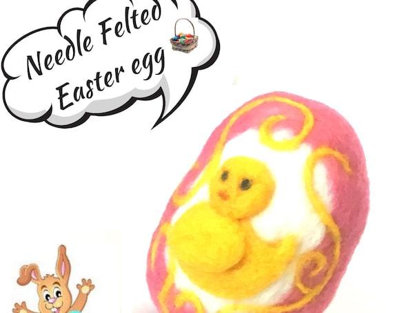 Wool Easter Egg - Yellow Felted Duck Easter Egg - Pink Felted Egg - Easter Table Decoration - Special Easter Keepsake - Easter Egg Gift
