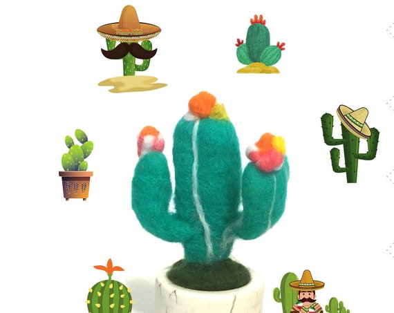 Hand Felted Cactus Plant - Flowering Cactus Plant - Friendship Gift - Appreciation Gift - Artificial Plant - Indoor Plant Lover Gift