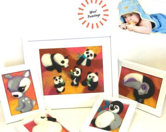 Nursery 3D Wool Paintings - Framed Nursery Pictures - Baby Wall Art - Original Nursery Decor - Needle Felted Art - Great Family Keepsake