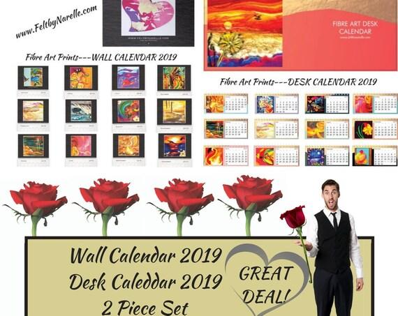 2019 Wall & Desk Calendar - Colourful Wool Paintings - Abstract Art Prints - Fibre Art Wool Prints - Set of 2 Calendars - Art Lovers Gift