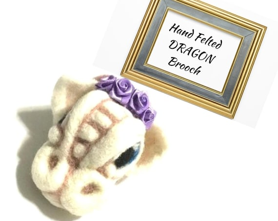 Fantasy Wool Sculpture - White Dragon Brooch - Needle Felted Brooch -  Fibre Art Brooch - Unique  One of a Kind Brooch - Cute Dragon