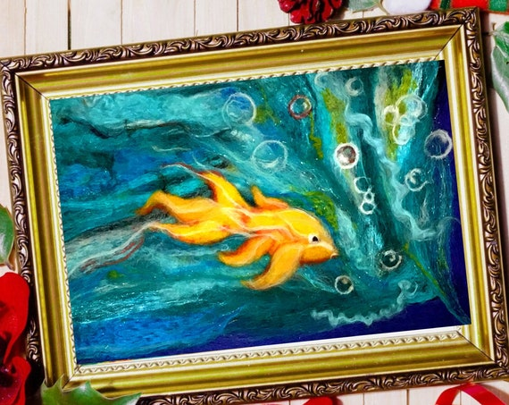 Goldfish Wool Painting - Blue Felt Picture - Felted Fibre Art - Needle Felted Art - Unframed Fibre Art Painting - Hand Felted Painting