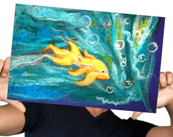 Goldfish Wool Painting - Blue Felt Picture - Under Water Wall Decor - Large Needle Felted Art - Unframed Hand Felted Painting