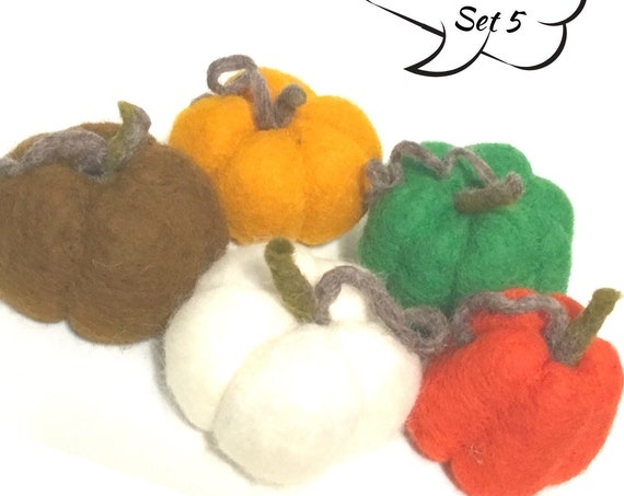 Felt Pumpkins - Felted Table Decor - Sweet Friendship Gift - 5 Wool Sculptures - Housewarming Gift - Gift for your Dinner Hostess