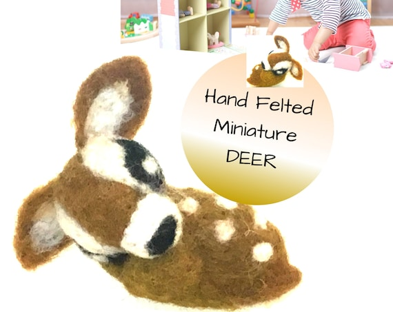 Dolls House Miniature Deer - Friendship Gift -  Tiny Wool Deer - Needle Felted Sculptures - Dolls House Animal - Little Girls Play Toy