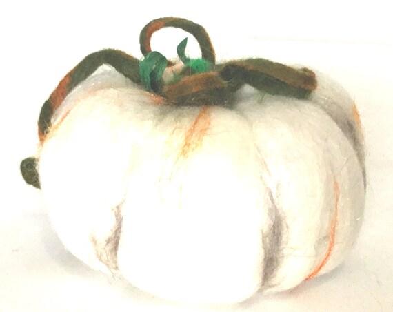 Pumpkin Wool Sculpture - White Pumpkin Table Decor - Housewarming Gift - Fruit Bowl Decor - Great Hostess Gift - Felted Friendship Gift