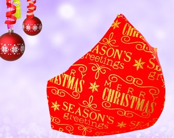 Xmas Gold Greetings Mask, Great Fit, Nose Wire, Bespoke Face Mask, OPTIONAL Pocket and Filters, Friendship Gift, Free Shipping 60% Off SALE