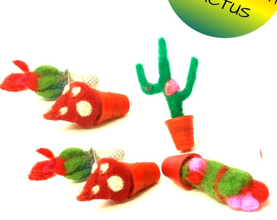 Hand Felted Miniature Cactus forTerrariums - Stunning Wool Decorations for Fairy Gardens - Treasured Hostess Gift - Thimble Cactus Plants