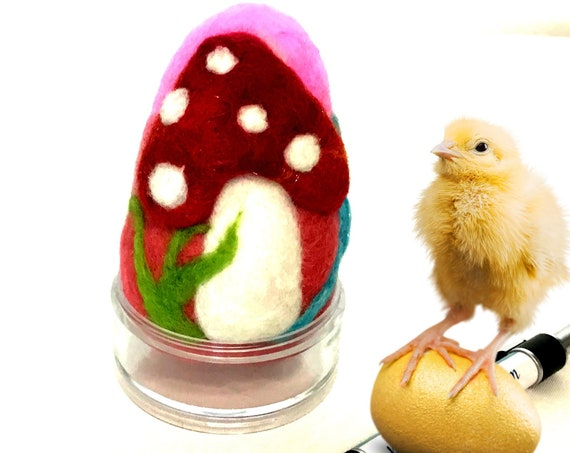 Wool Easter Egg - Mushroom Felted Egg -  Red Mushroom Easter Egg - Easter Table Decor - Special Keepsake - Easter Gift - Collectors Item