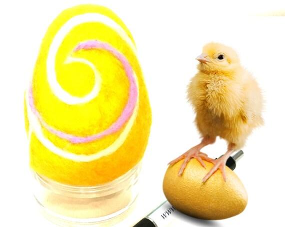Easter Egg - Yellow Felted Egg - Needle Felted Wool Sculpture - Handmade Easter Egg - Easter Ornament - Easter Egg Gift