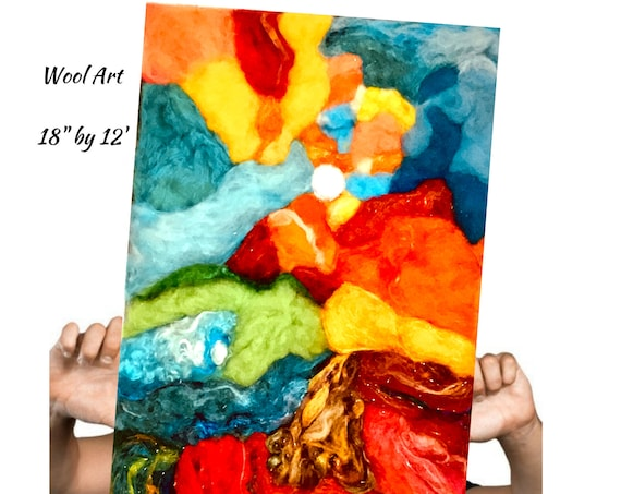 Abstract 3D Wool Painting - Needle Felted Art - Hand Felted Picture - Original Wool Art - Felted Wall Art - Wool Painting - Art Lover Gift -
