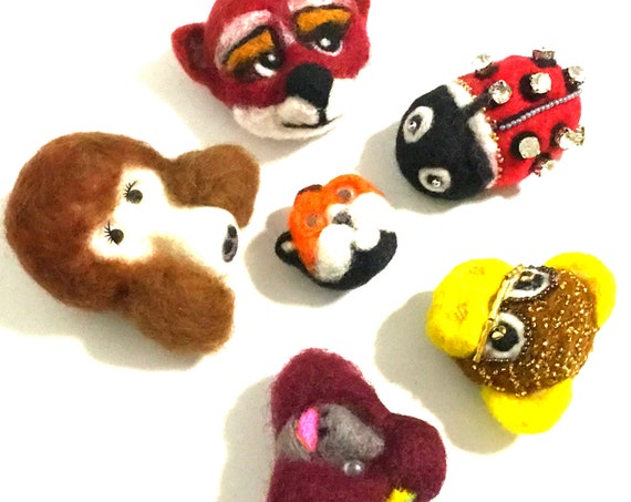 Hand Felted Brooches -Mothers Day Gift - Cubic Zirconia Ladybug - Sweetheart Gift - Unique Beaded Monkey - Friendship Gift - Birthday Gift