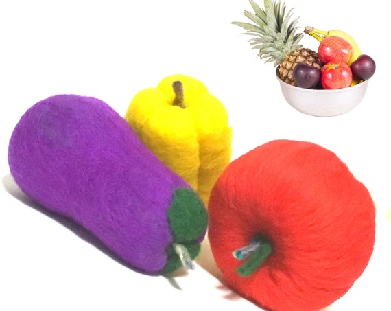 Felted Red Apple, Purple Egg Plant and Yellow Capsicum - Table Decor - Friendship Gift - Housewarming Gift - Wool Sculptures - Hostess Gifts