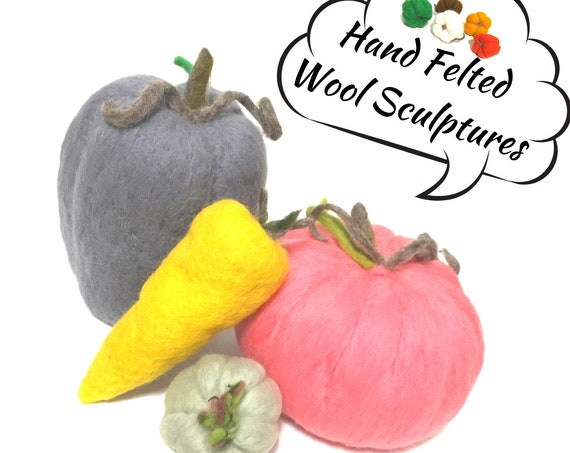 Life Size Wool Sculptures - Pink Pumpkin - Grey Capsicum - Gold Carrot - Garlic Table Decor - Friendship Gift - Housewarming Gift