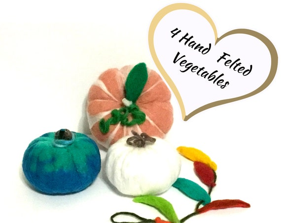 Large Felt Pumpkin Set - Housewarming Gift - 4 Hand Felted Wool Sculptures - Festive Table Decor  - Fruit Bowl Decor - Friendship Gift