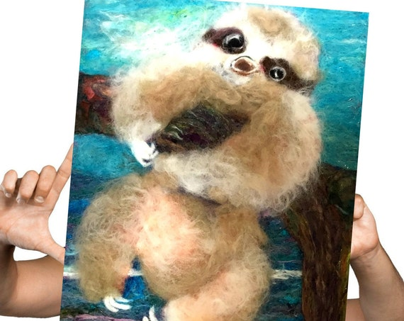 Hand Felted Sloth Picture - Adorable Wall Art - 3D Baby Sloth Wool Painting - Needle Felted Wool Art - Loveable Art Gift - Sloth Lover Gift