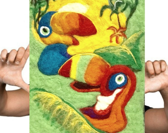 Toucan Wool Painting - Stunning Wall Decor - Felted Fibre Art - Needle Felted Art - Unframed Fibre Art Painting - Original Art Gift