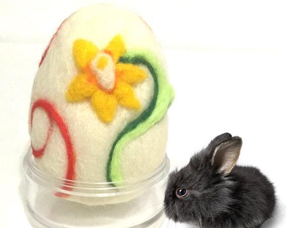 Wool Easter Egg - Yellow Daffodil Felted Egg - Needle Felted Wool Sculpture - Handmade Easter Egg - Easter Ornament - Easter Egg Gift