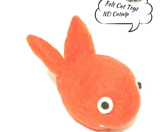 Felted Fish Cat Toy - Orange Handmade Cat Toy - Wool Sculpture - Felted Wool Toy - Cuddle Buddy Toy - Cat Throw Toy - Cat Lover Wool Gift