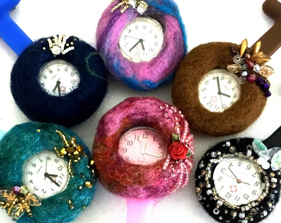 Hand Felted Brooch Watches - Beaded Watch Brooches - Mothers Day Gift - Sweetheart Gift - Unique Hand Felted Brooch - One of a Kind Original