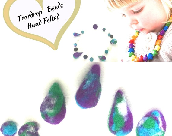 Hand Felted Assorted Beads - Marbled Mix and Match for Craft Jewellery - Needle Felted Wool Jewellery - Stunning Decor for Bespoke Jewellery