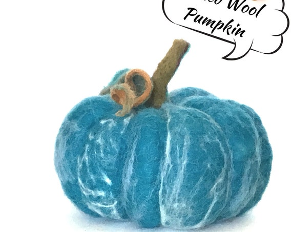 Large Felt Pumpkin - Blue Pumpkin Table Decor - Unique Table Centrepiece - Fruit Bowl Decor - Wool Sculptured Pumpkin - Hostess Gift