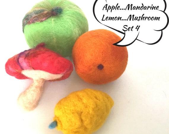 Granny Smith Apple, Mandarine, Bush Lemon and Mushroom - Table Decor - Friendship Gift - Wool Sculptures - Housewarming Gift - Hostess Gift