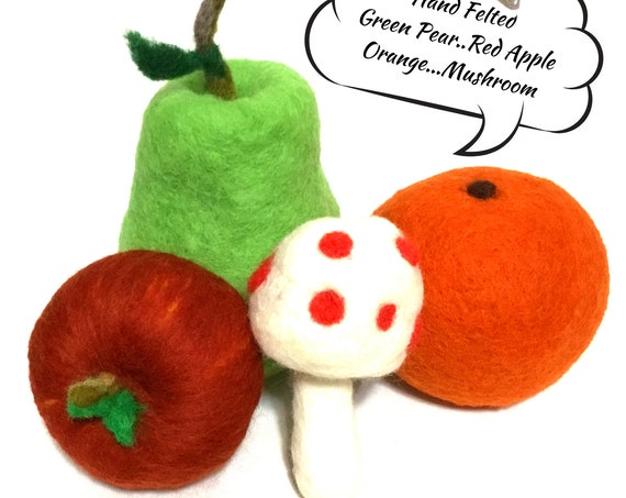 Felted Wool Sculptures - Table Centrepiece - Burgundy Pumpkin - Pear and Orange and Mushroom - Table Decor - Friendship Gift - Hostess Gift