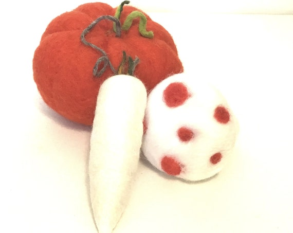 Large Red Pumpkin, Spotted Mushroom and White Radish - Table Decor - Friendship Gift - Wool Sculptures - Housewarming Gift - Hostess Gift