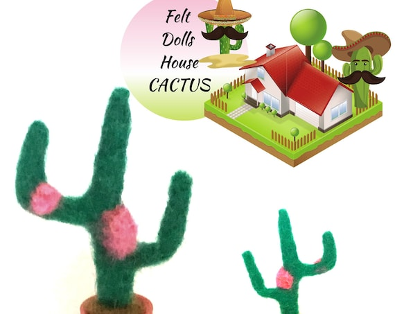 Dolls House Felt Cactus - Thimble Cactus - Miniature Cactus - Friendship Gift - Hand Felted Wool Sculpture - Tiny Dolls House Decoration