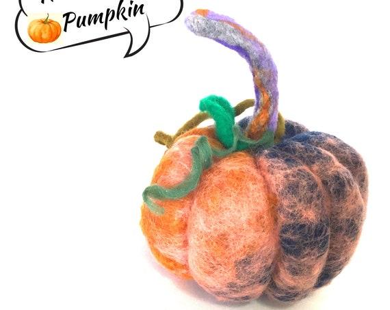 Felted Wool Pumpkin - Pink Pumpkin Table Decor - Housewarming Gift - Fruit Bowl Decor - Large Rustic Pumpkin - Unique Hostess Gift