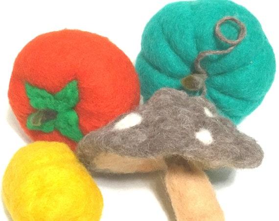 Life Size Wool Sculptures - Felted Pumpkin - Tomato - Mushroom - Lemon - Table Decor - Friendship Gift - Housewarming Gift - Hostess Gift