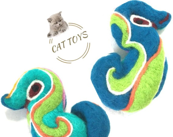 Blue Felt Duck Cat Toy - Felted Child's Play Toy - Felted Wool Toy - Wool Sculpture - Cat lover Gift - Eco friendly Wool - Collectors Gift