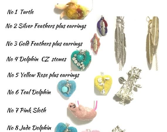 Hand Felted Pendants - Dolphin Heart Pendants - Cubic Zirconia Heart - Girlfriend Gift - Felted Jewellery -  Sweetheart Gifts