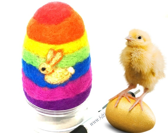 Felt Easter Egg - Rainbow Easter Egg - Bunny Felted Egg - Easter Table Decoration - Special Keepsake - Easter Egg Gift - Gift for Collectors