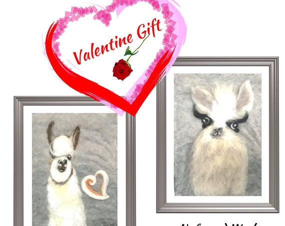 Llama Paintings - Valentine Day Gift - 3D Merino Wool Pictures - Felted Fibre Art - Needle Felted Art - Unframed Fibre Art Paintings