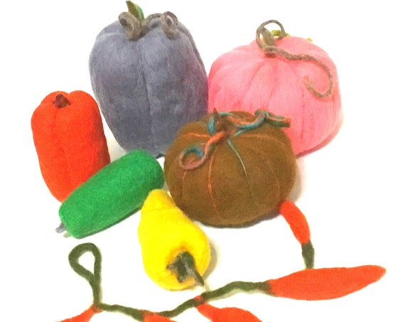 Large Felt Vegetables - Festive Table Decor - Mothers Day Gift - Hand Felted Wool Sculptures - Housewarming Gift - Fruit Bowl Decor