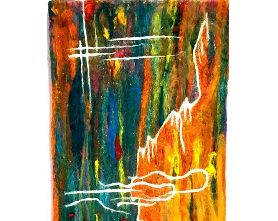 Abstract 3D Wool Painting - Copper Needle Felted Art - Hand Felted Picture - Any Way Art - Copper  Painting - Art Lover Gift - Gift for Her