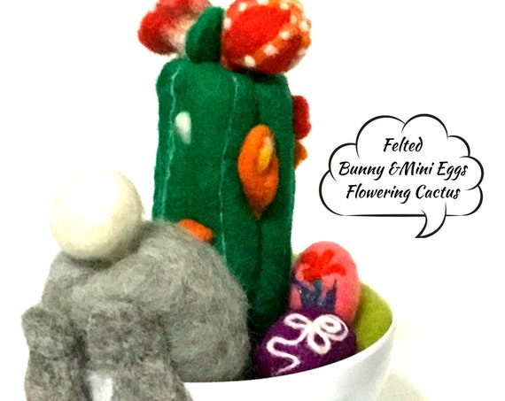 Red Flowering Cactus - Cute Pot Plant Gift - Stunning Cactus Gift - Artificial Indoor Cactus - Felted Indoor Plant Gift - Appreciation Gift