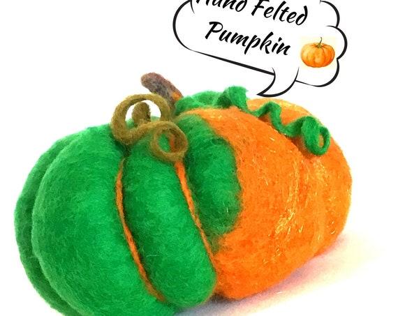 Felted Wool Sculpture - Green Pumpkin Table Decor - Housewarming Gift - Fruit Bowl Decor - Multi Coloured Wool Pumpkin - Hostess Gift